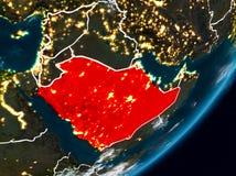 地球上的沙特阿拉伯在晚上 免版税库存图片