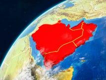 地球上的阿拉伯半岛与边界 免版税库存图片
