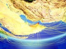 地球上的阿拉伯联合酋长国与网络 向量例证