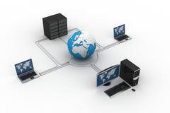 地球与膝上型计算机服务器 免版税库存图片