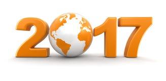 地球与2017年 库存例证