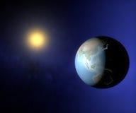 地球亚洲和澳大利亚空间视图  库存照片