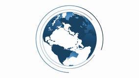 地球介绍地球动画头显示英尺长度 皇族释放例证
