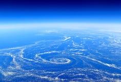 地球从上面:在海洋潮流捉住的浮动海冰 免版税库存照片