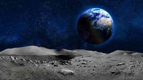 地球从月亮表面的行星视图 图库摄影