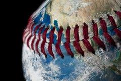 地球作为棒球球 免版税库存图片