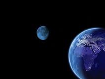 地球光晚上 免版税图库摄影