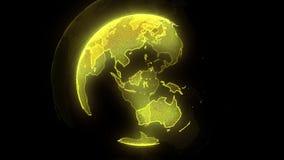 地球全球性连通性 与金剥落和bokeh的抽象背景 广播背景 3D?? 库存例证