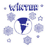地球冬天 库存照片