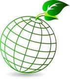 地球叶子徽标 皇族释放例证