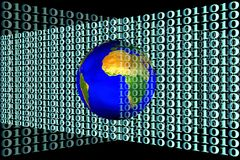 地球和二进制代码的库存图象 库存图片