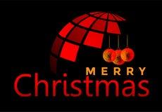 地球和圣诞快乐世界和招呼在红色色的象的文本设计在抽象黑背景 向量例证
