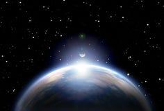 地球和太阳 免版税库存照片
