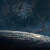 地球和星系 夜空空间 图库摄影