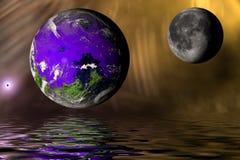 地球和月亮与洪水(计算机生成) 库存照片