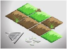 地球和绿草的等量动画片向量场比赛的 一套石头 免版税库存图片