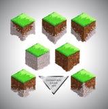 地球和绿草等量动画片传染媒介块比赛的 免版税图库摄影