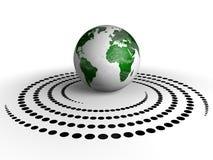 地球和螺旋小点 库存照片