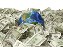 地球和许多一百美元 免版税库存图片