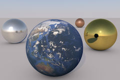 地球和金属 库存图片