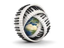 地球和钢琴钥匙(包括的裁减路线) 图库摄影