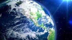 地球和闪烁星在空间 股票视频
