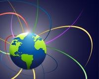 地球和颜色波浪线例证设计 库存图片