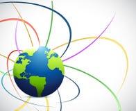 地球和颜色波浪线例证设计 库存照片