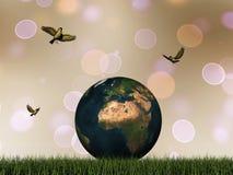 地球和鸟- 3D回报 免版税库存照片
