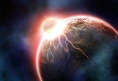 地球碰撞。 幻想世界末端。 这图象furn的元素 库存照片