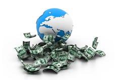 地球和货币 库存照片