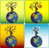 地球四个季节 皇族释放例证