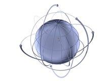 地球围绕架线的卫星旋转 免版税库存照片