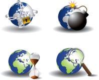 地球图标保存 免版税图库摄影