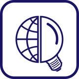 地球图标闪亮指示向量 免版税库存照片