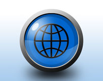 地球图标 圆光滑的按钮 库存照片