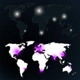 地球在夜地图之前 库存照片
