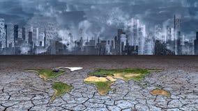 地球在干破裂的泥大都会坐 免版税库存图片