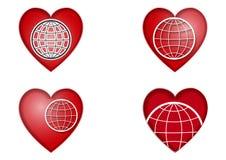 地球在心脏 库存例证