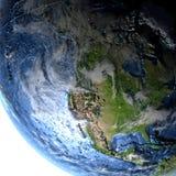 地球在晚上-可看见的海底上的北美 免版税库存图片