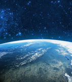 地球在空间的地球模型 美国航空航天局装备的图象的元素 库存照片