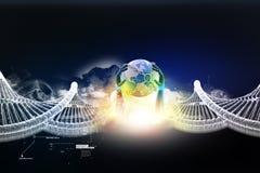地球在链子的地球关闭 库存照片