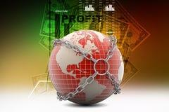 地球在链子的地球关闭 免版税库存照片