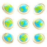 地球地球在九的象征标签节略 库存图片