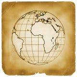 地球地球老纸行星葡萄酒 图库摄影