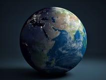 地球地球-非洲、欧洲和亚洲 库存照片