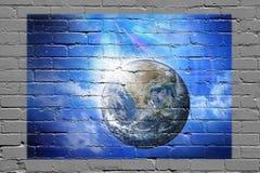 地球墙壁街道画背景 库存图片