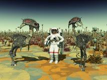 地球外的生活和宇航员 免版税图库摄影