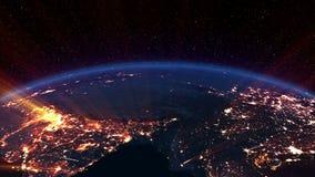 地球夜。亚洲。 皇族释放例证