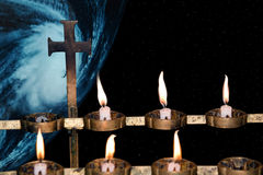 地球天堂祷告 库存照片